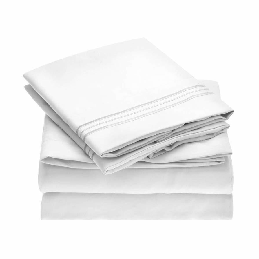 "<p>With a whopping 80,000-plus reviews and a 4.5-star rating on Amazon, the budget-friendly Mellanni Bed Sheet Set is so much more soft and durable than you'd expect from the price tag. The thousands of reviewers can't stop talking about it, and neither can social media manager <a href=""https://www.glamour.com/contributor/brionna-jimerson?mbid=synd_yahoo_rss"" rel=""nofollow noopener"" target=""_blank"" data-ylk=""slk:Brionna Jimerson"" class=""link rapid-noclick-resp"">Brionna Jimerson</a>, who ""rolled and jumped in the bed like a six-year-old, only to find the wrinkle-resistant claim held up.""</p> <p><strong>Details:</strong></p> <ul> <li>Includes one flat sheet, one fitted sheet, and two pillowcases</li> <li>100% polyester</li> </ul> <p><strong>Star rating:</strong> 4.5 out of 5 stars</p> <p><strong>What customers say:</strong> ""Forget that these are microfiber. Forget that these are under $30. These really are the BEST bed sheets ever! I purchased the light pink and they are absolutely gorgeous! They are the softest and most comfortable sheets I've ever had! They are not see-through either. They are not hot. They are wrinkle-free and have deep pockets with elastic all around. No other fitted sheets would stay on my bed! These are the only sheets I will ever buy."" —<em>Amy, reviewer on</em> <a href=""https://www.amazon.com/dp/B00NLLUMOE"" rel=""nofollow noopener"" target=""_blank"" data-ylk=""slk:Amazon"" class=""link rapid-noclick-resp""><em>Amazon</em></a></p> $33, Amazon. <a href=""https://www.amazon.com/dp/B00NLLUMOE"" rel=""nofollow noopener"" target=""_blank"" data-ylk=""slk:Get it now!"" class=""link rapid-noclick-resp"">Get it now!</a>"