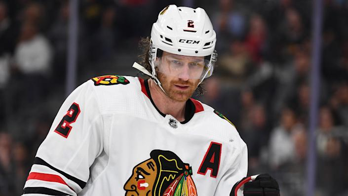 Duncan Keith, pictured as a member of the Chicago Blackhawks. (Stephen R. Sylvanie-USA TODAY Sports)