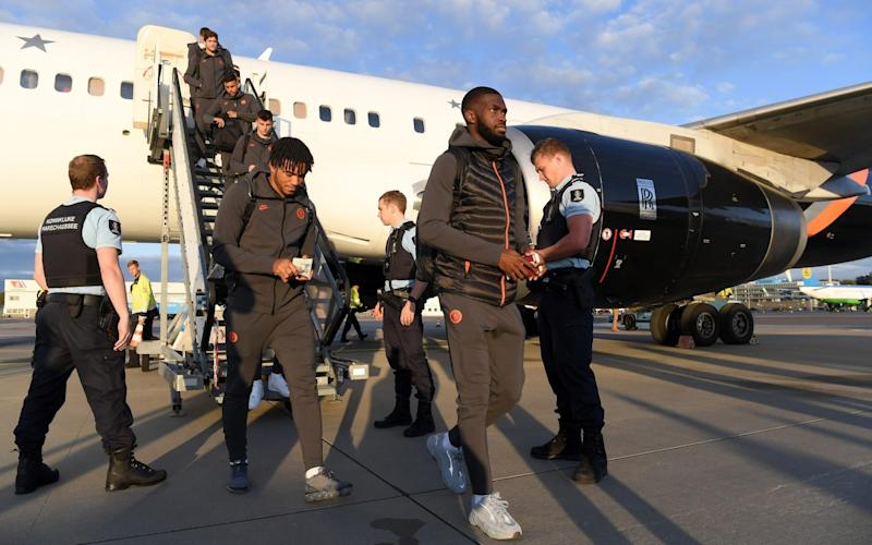 Fikayo Tomori arrives with his team-mates in Amsterdam ahead of Chelsea's clash with Ajax - Chelsea FC