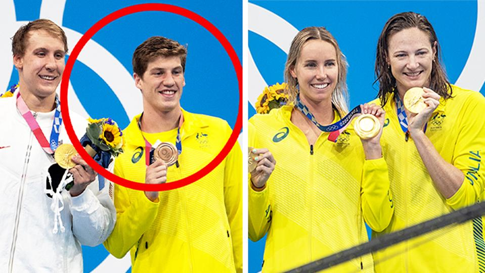 Swimmers Chase Kalisz and Brendon Smith (pictured left) smile on the podium without masks and (pictured right) Emma McKeon and Cate Campbell showing off their gold medal in Tokyo.