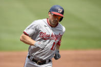 Washington Nationals' Ryan Zimmerman rounds the bases on his three-run home during the sixth inning of a baseball game against the Baltimore Orioles, Sunday, July 25, 2021, in Baltimore. (AP Photo/Nick Wass)