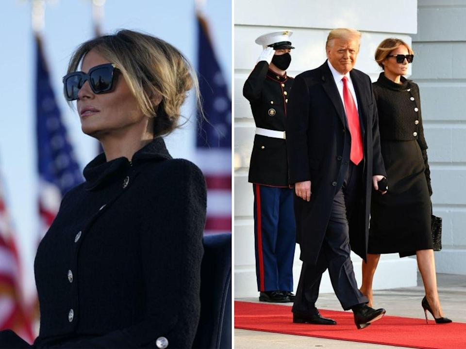 melania trump and donald trump inauguration day melania chanel outfit