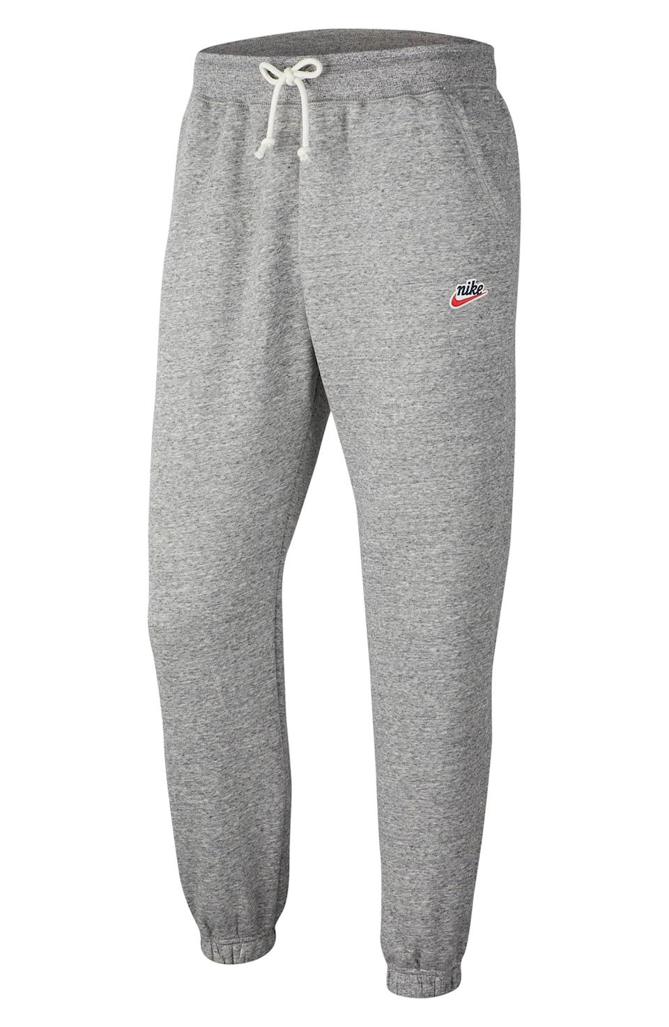 """<p><strong>Nike Sportswear</strong></p><p>nordstrom.com</p><p><strong>$39.00</strong></p><p><a href=""""https://go.redirectingat.com?id=74968X1596630&url=https%3A%2F%2Fwww.nordstrom.com%2Fs%2Fnike-sportswear-heritage-jogger-sweatpants%2F5942955&sref=https%3A%2F%2Fwww.esquire.com%2Fstyle%2Fg36535194%2Fnordstrom-mens-sale-half-yearly-spring-2021%2F"""" rel=""""nofollow noopener"""" target=""""_blank"""" data-ylk=""""slk:Shop Now"""" class=""""link rapid-noclick-resp"""">Shop Now</a></p><p>It doesn't get much better than throwback sweatpants from a master of the form.</p>"""