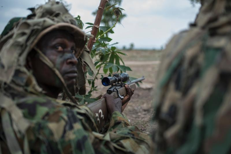 Members of the Nigerian Armed Forces Sniper Unit took part in the exercises (AFP Photo/STEFAN HEUNIS)
