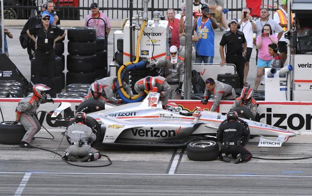Will Power makes a pit stop during the IndyCar auto race Saturday, June 9, 2018, in Fort Worth, Texas. (AP Photo/Larry Papke)