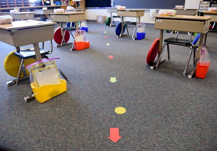 Desks are spread out for social distancing at a Shiloh Hills Elementary School classroom in Spring Township, Pa., on Aug. 21, 2020.