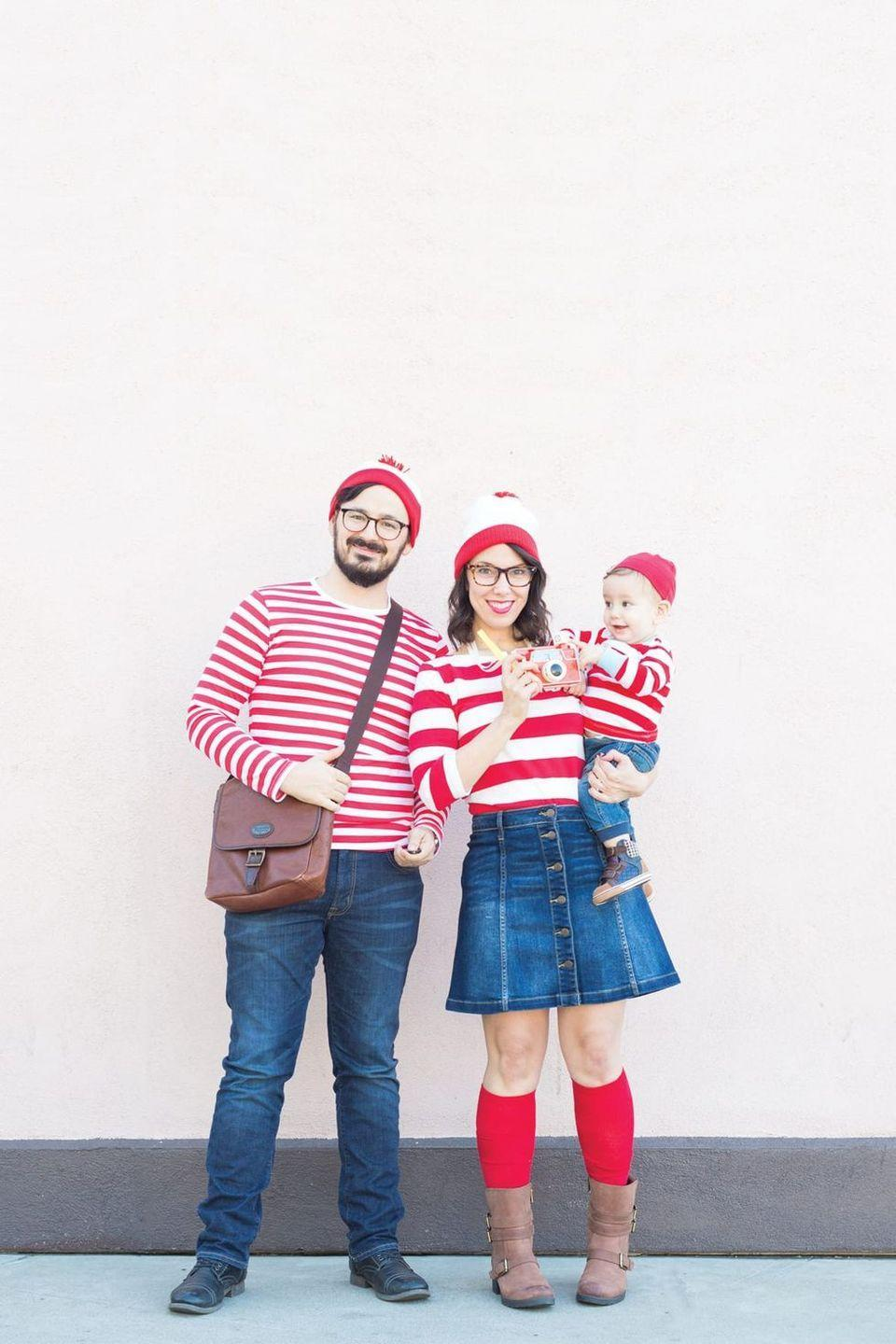 """<p>It couldn't be easier to bring this costume idea to life: Dress everyone up in red-and-white stripes, then add matching beanies.</p><p><strong>Get the tutorial at <a href=""""https://lovelyindeed.com/wheres-waldo-family-halloween-costumes/"""" rel=""""nofollow noopener"""" target=""""_blank"""" data-ylk=""""slk:Lovely Indeed"""" class=""""link rapid-noclick-resp"""">Lovely Indeed</a>.</strong></p><p><a class=""""link rapid-noclick-resp"""" href=""""https://go.redirectingat.com?id=74968X1596630&url=https%3A%2F%2Fwww.walmart.com%2Fsearch%2F%3Fquery%3Dbeanies&sref=https%3A%2F%2Fwww.thepioneerwoman.com%2Fhome-lifestyle%2Fcrafts-diy%2Fg37066817%2Fhalloween-costumes-for-3-people%2F"""" rel=""""nofollow noopener"""" target=""""_blank"""" data-ylk=""""slk:SHOP BEANIES"""">SHOP BEANIES</a></p>"""
