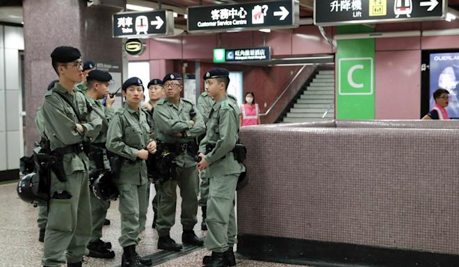 Riot police in Prince Edward station, which has been shut down. Photo: Edmond So