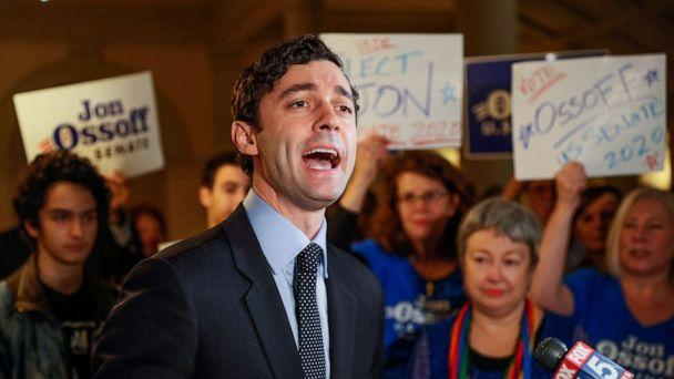 PHOTO: FILE - In this Wednesday, March 4, 2020, file photo, Jon Ossoff speaks to the the media and supporters after he qualified to run in the Senate race against Republican Sen. David Perdue in Atlanta. (Bob Andres/AP)
