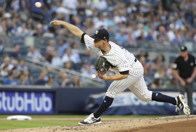 New York Yankees' Sonny Gray delivers a pitch during the third inning of the team's baseball game against the Kansas City Royals Thursday, July 26, 2018, in New York. (AP Photo/Frank Franklin II)