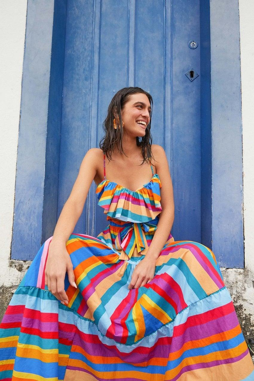<p>It's impossible not to smile when I lay eyes on this <span>FARM Rio Striped Scarf Maxi Skirt</span> ($185). The brand just released tons of colorful pieces that are so incredible, it's hard to pick just one.</p>
