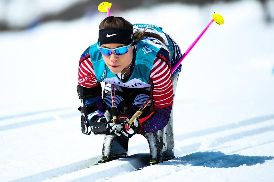 PYEONGCHANG-GUN, SOUTH KOREA - MARCH 11:  Oksana Masters of the United States competes in the Women's Cross Country 12km - Sitting event at Alpensia Biathlon Centre during day two of the PyeongChang 2018 Paralympic Games on March 11, 2018 in Pyeongchang-gun, South Korea.  (Photo by Lintao Zhang/Getty Images)
