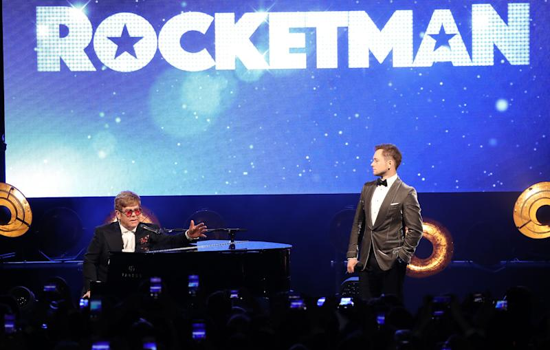 "CANNES, FRANCE - MAY 16: Sir Elton John and Taron Egerton attend the ""Rocketman"" Gala Party during the 72nd annual Cannes Film Festival on May 16, 2019 in Cannes, France. (Photo by Mike Marsland/WireImage)"