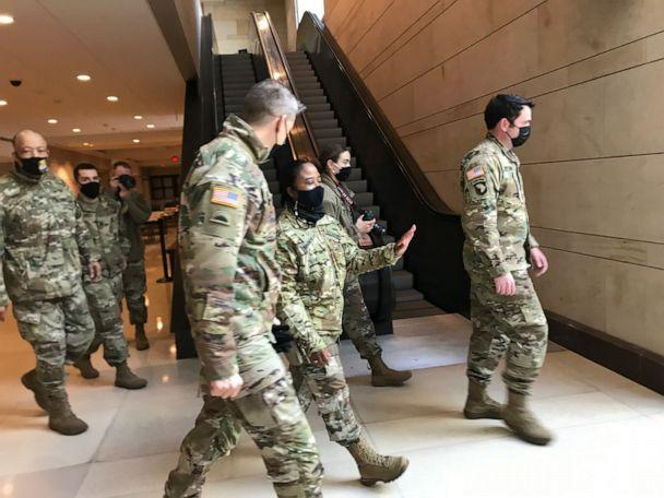 PHOTO: Gen. Dan Hokanson, chief of the National Guard Bureau, meets with guardsmen who secured the nation's capital during the inauguration on Saturday, Jan. 23, 2021. (ABC News)