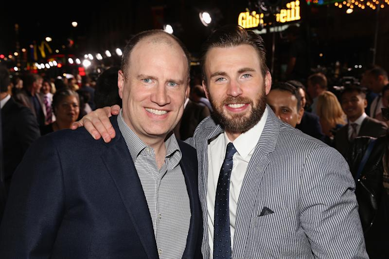 "HOLLYWOOD, CA - APRIL 13: President of Marvel Studios Kevin Feige (L) and actor Chris Evans attend the world premiere of Marvel's ""Avengers: Age Of Ultron"" at the Dolby Theatre on April 13, 2015 in Hollywood, California. (Photo by Jesse Grant/Getty Images for Disney)"