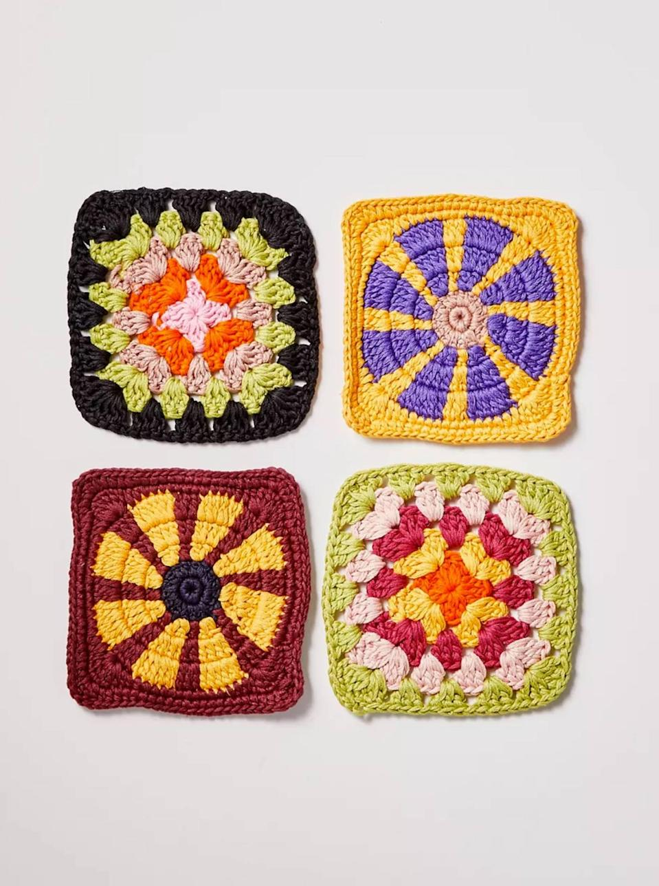 """Not quite ready to wear crochet? Bring it into your home with these cute and colorful coasters that will keep your <a href=""""https://www.glamour.com/story/haus-aperitif-review?mbid=synd_yahoo_rss"""" rel=""""nofollow noopener"""" target=""""_blank"""" data-ylk=""""slk:favorite beverages"""" class=""""link rapid-noclick-resp"""">favorite beverages</a> from marking up your furniture. $8, Urban Outfitters. <a href=""""https://www.urbanoutfitters.com/shop/crochet-coaster?"""" rel=""""nofollow noopener"""" target=""""_blank"""" data-ylk=""""slk:Get it now!"""" class=""""link rapid-noclick-resp"""">Get it now!</a>"""