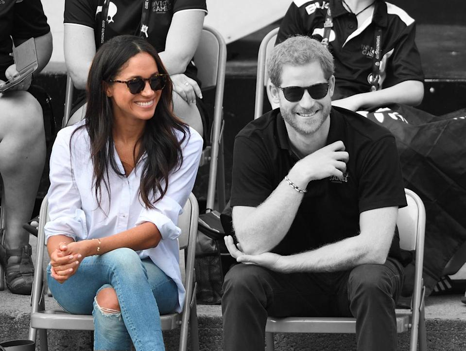 Meghan Markle and Prince Harry made their first official appearance together at the Invictus Games in Toronto, but some people weren't happy with Markle's ripped jeans. (Photo: Getty Images)