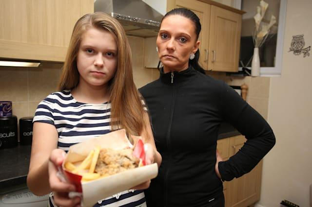 Mollie Howe, 11 and her mother Sharon Howe found six nails in her chicken and chips from Red Rooster on the Heathway