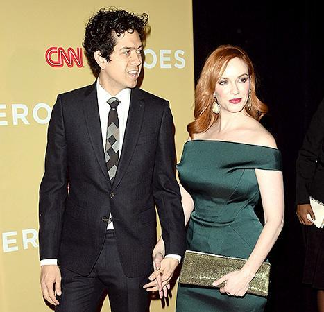 Geoffrey Arend escorts wife Christina Hendricks down the red carpet at 2014 CNN Heroes on Nov. 19.