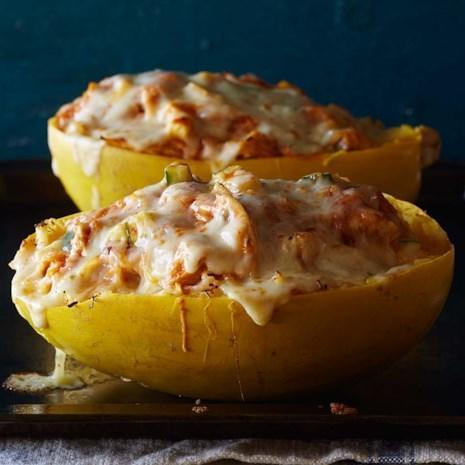 <p>This healthy 5-ingredient spaghetti squash recipe is a satisfying low-carb alternative to taco night. If you have leftover cooked chicken on hand, skip Step 2 and stir 2 1/2 cups into the filling. Look for an enchilada sauce with less than 300 mg of sodium per serving, such as Hatch brand.</p>