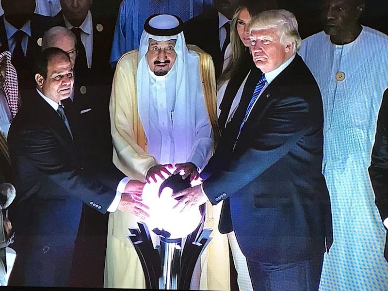 Image result for trump touching glowing orb