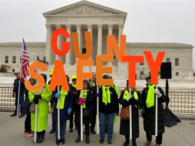 Hundreds of supporters of gun control laws rally in front of the US Supreme Court