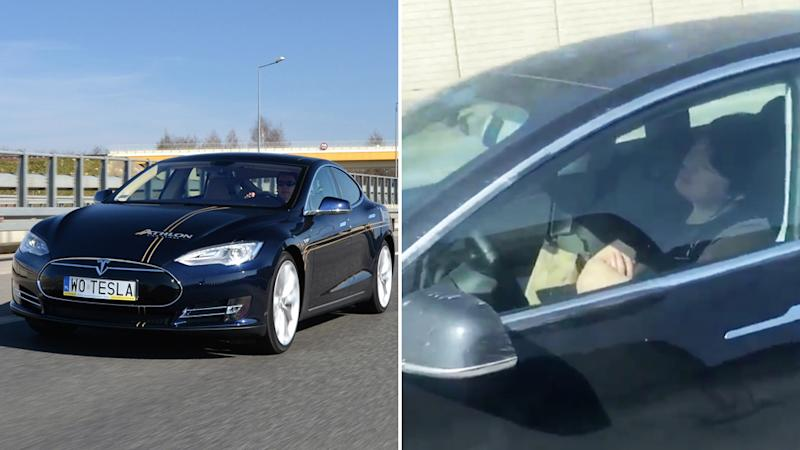 Tesla cars (left is a stock image of one of the company's cars) boast an autopilot feature. A Los Angeles couple spotted a man appearing to be asleep while driving a Tesla.