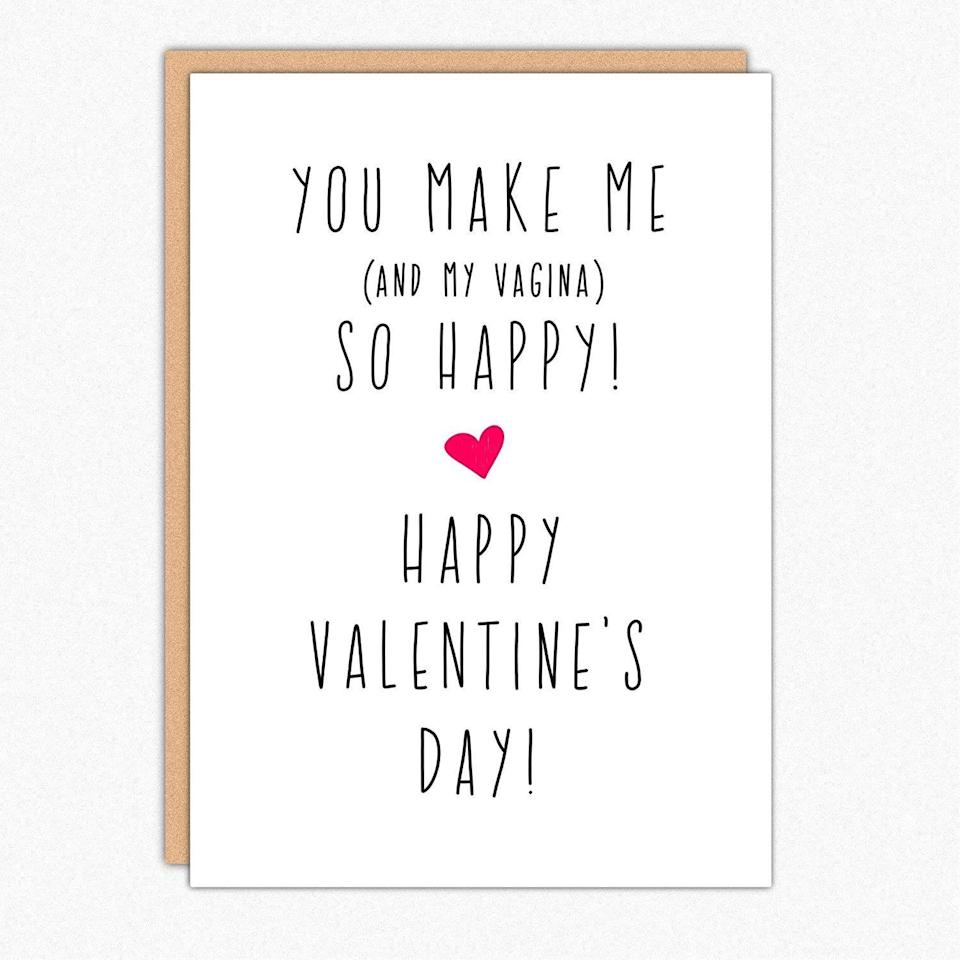 "<p>No need to beat around the bush...</p><br><br><strong>In A Nutshell Studio</strong> Funny Valentine Card, $4.49, available at <a href=""https://www.amazon.com/Valentine-Naughty-Valentines-Greeting-Envelope/dp/B078Q7WJD8/ref=sr_1_1?m=A301IHQ4OCUDBX&s=handmade&ie=UTF8&qid=1548449543&sr=1-1"" rel=""nofollow noopener"" target=""_blank"" data-ylk=""slk:Amazon"" class=""link rapid-noclick-resp"">Amazon</a>"