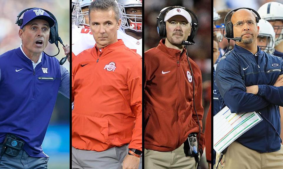 Chris Petersen, Urban Meyer, Lincoln Riley and James Franklin are on the outside of the playoff looking in at the moment. (Getty)
