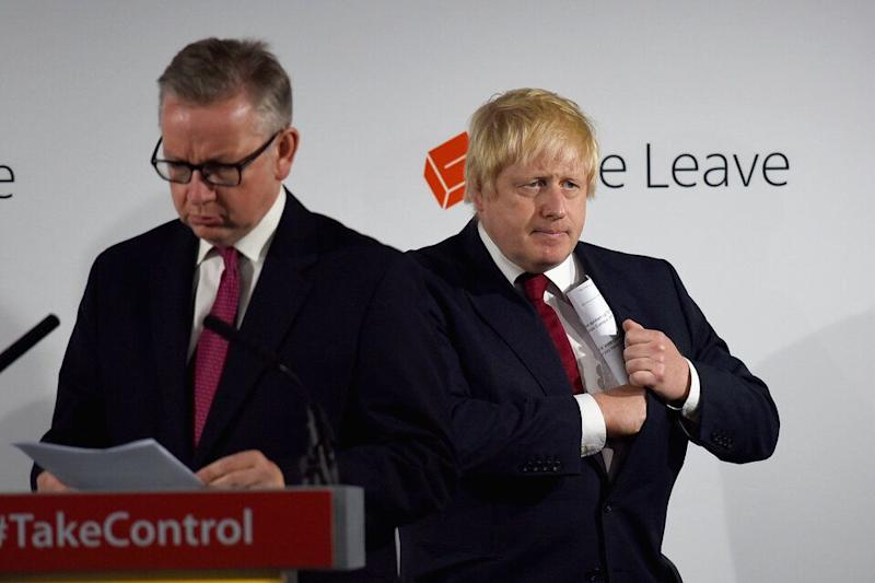 Michael Gove and Boris Johnson after the 2016 referendum