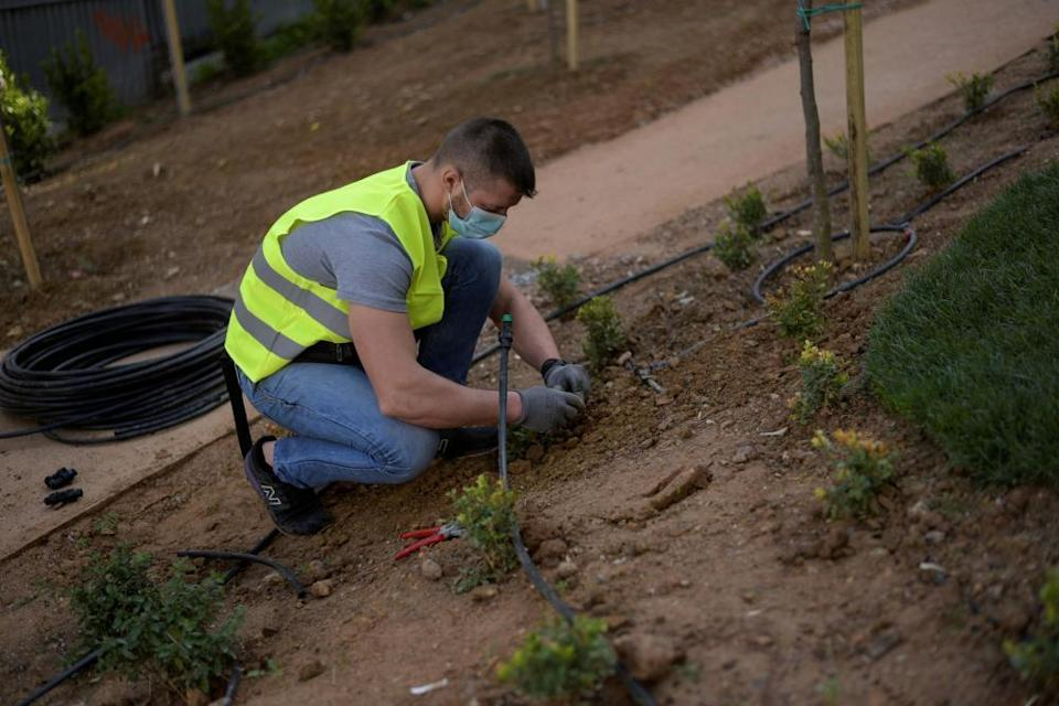 A municipal employee works at a pocket park in Athens, Greece.