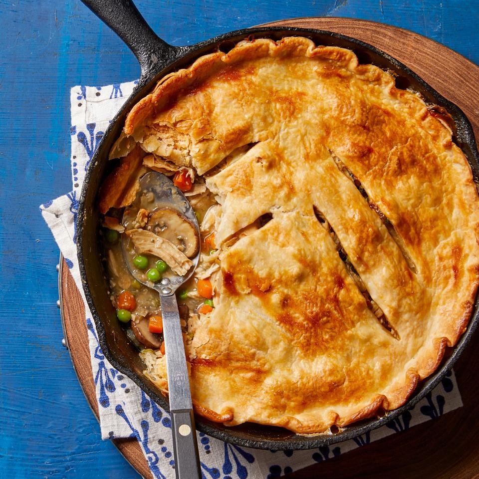 <p>A store-bought pie crust, frozen veggies and precooked chicken simplify the prep for this easy potpie. This healthy dinner recipe is comfort food at its best.</p>