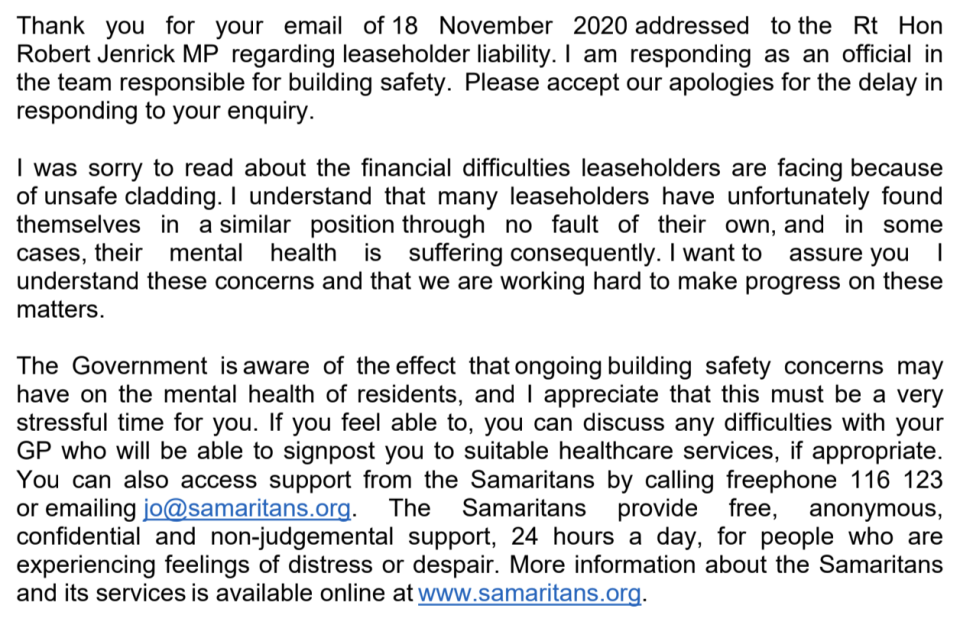 Part of the response from the Ministry of Housing, Communities and Local Government. (Jamie Robb)