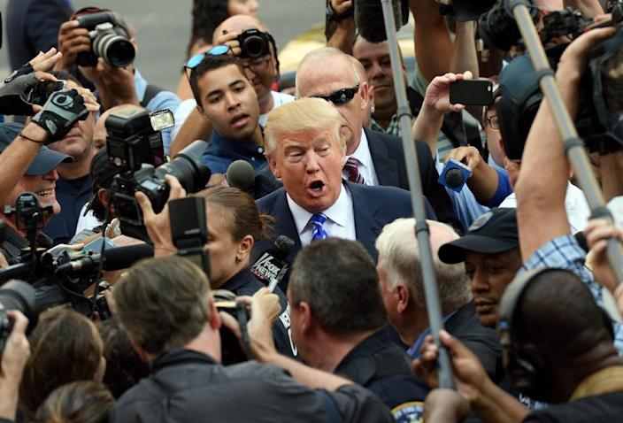 Donald Trump's say-it-how-it-is attitude, business acumen and charisma have made him a rock star in the eyes of ordinary Republican voters (AFP Photo/Don Emmert)