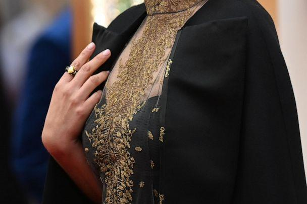 PHOTO: Actress Natalie Portman wears a cape embroidered with the names of female film directors who were not nominated for Oscars as she arrives for the 92nd Oscars at the Dolby Theatre in Hollywood, Calif., on Feb. 9, 2020. (Robyn Beck/AFP via Getty Images)