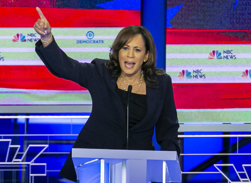 Sen. Kamala Harris, D-Calif., speaks during the second night of the first Democratic presidential debate. (Photo: Al Diaz/Miami Herald/TNS via Getty Images)