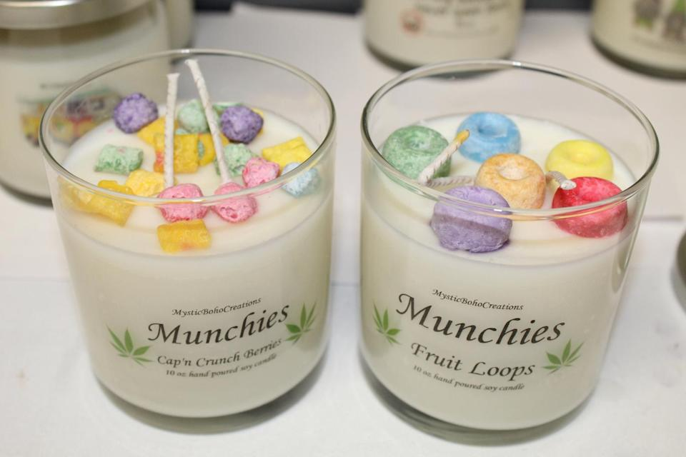 """<h2>MysticBohoCreations Cannabis Candle</h2><br>Choose from 13 different 4/20 friendly scents and revel in the aromas of MysticBohoCreations' candles. Although some variations, like these cereal scents, do not smell like cannabis, they are the perfect accompaniment to your post-smoke-sesh munchies.<br><br><em>Shop</em> <strong><em><a href=""""https://www.etsy.com/shop/MysticBohoCreations"""" rel=""""nofollow noopener"""" target=""""_blank"""" data-ylk=""""slk:MysticBohoCreations"""" class=""""link rapid-noclick-resp"""">MysticBohoCreations</a></em></strong><br><br><strong>MysticBohoCreations</strong> Cannabis Candle, $, available at <a href=""""https://go.skimresources.com/?id=30283X879131&url=https%3A%2F%2Fwww.etsy.com%2Flisting%2F795044871%2F420-soy-candles-stoner-candle-cannabis"""" rel=""""nofollow noopener"""" target=""""_blank"""" data-ylk=""""slk:Etsy"""" class=""""link rapid-noclick-resp"""">Etsy</a>"""