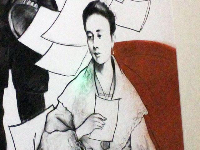 "A sketch of Leonor Rivera, first love of national hero Dr. Jose Rizal and considered one of three women who greatly influenced the national hero. Mementos and photos are included n the exhibit ""Rizalizing the Future"" at the Yuchengco Museum in in RCBC Plaza in Makati."