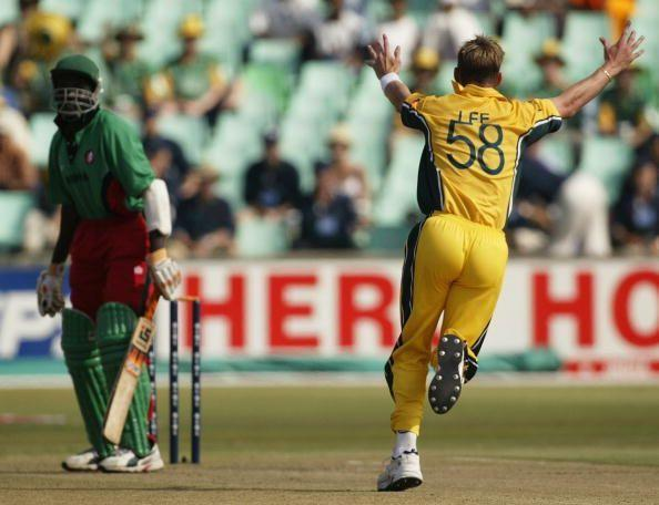 Brett Lee celebrates his hat trick after bowling out Kenya's David Obuya at the 2003 World Cup.