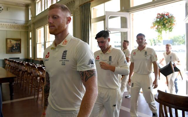 England's Ben Stokes and his team-mates walks through the Long Room on the eve of the Second Test against Australia - Getty Images Europe