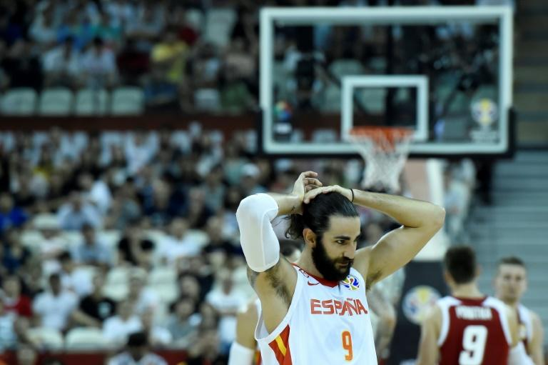 Spain's Ricky Rubio reacts during his team's Basketball World Cup quarter-final win over Poland in Shanghai