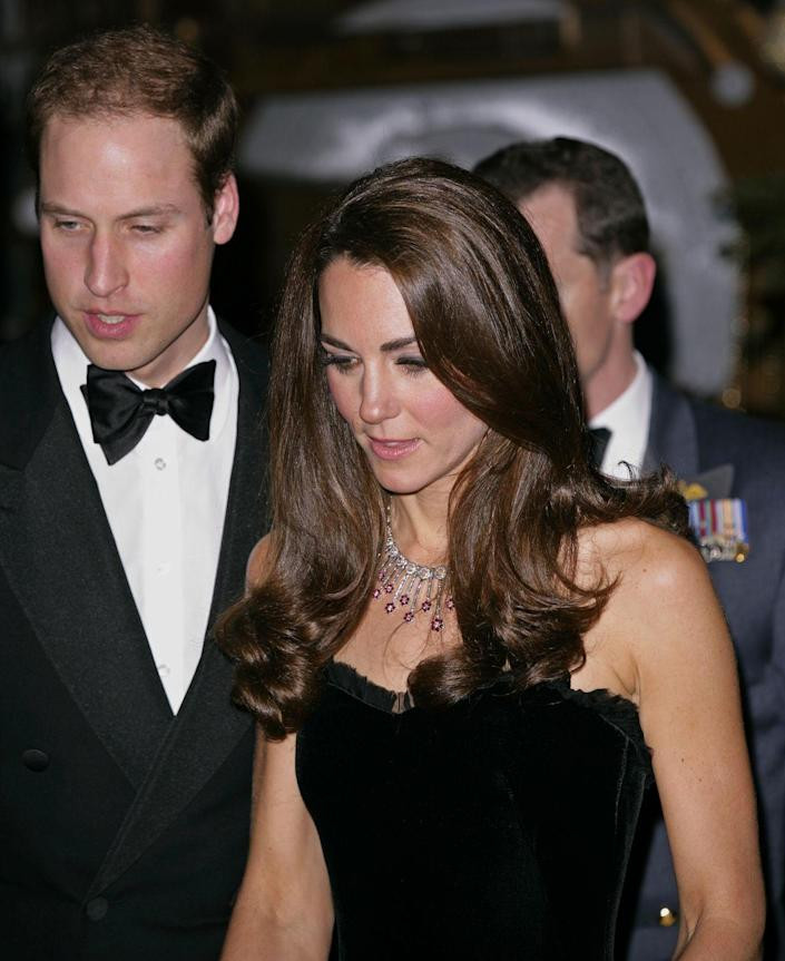 <p>This diamond and ruby necklace is from the jeweler Mouwad and is part of a set Kate received when she married William. </p>