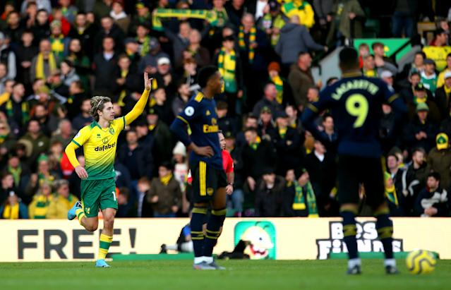 Norwich City's Todd Cantwell celebrates scoring his side's second goal of the game. (Credit: Getty Images)