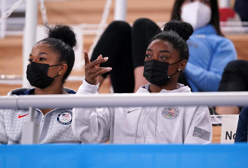 USA's Simone Biles watches the Artistic Gymnastics Women's All-Around Final at the Ariake Gymnastics Centre on the sixth day of the Tokyo 2020 Olympic Games in Japan. Picture date: Thursday July 29, 2021. (Photo by Mike Egerton/PA Images via Getty Images)