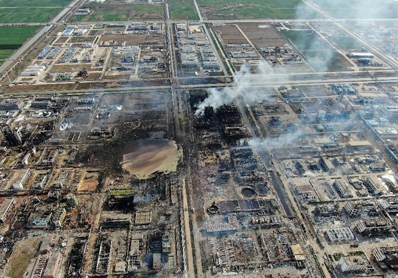 An aerial view after the explosion at the chemical plant in Jiangsu province last month