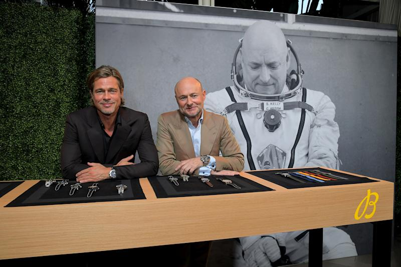 Breitling Cinema Squad Member Brad Pitt with Breitling CEO Georges Kern at the Breitling Summit in Los Angeles, California.