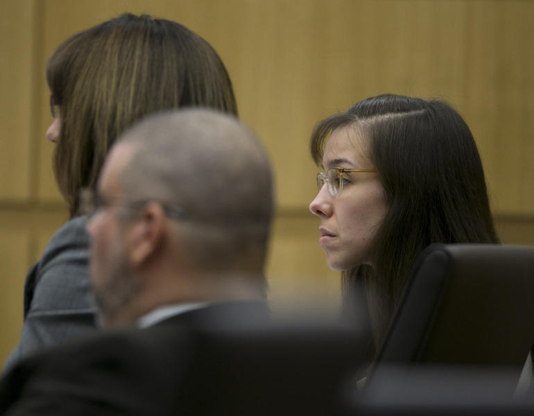 Jodi Arias listens during her trial at Maricopa County Superior Court in Phoenix on Tuesday, April 16, 2013. Defense attorneys rested their case Tuesday after about 2 1/2 months of testimony aimed at portraying Arias as a domestic violence victim who fought for her life the day she killed her one-time boyfriend. (AP Photo/The Arizona Republic, David Wallace, Pool)
