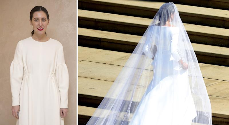 fac8349a8a Designer Emilia Wickstead (left) has been accused of criticising Meghan  Markle s wedding look  Photo  Getty