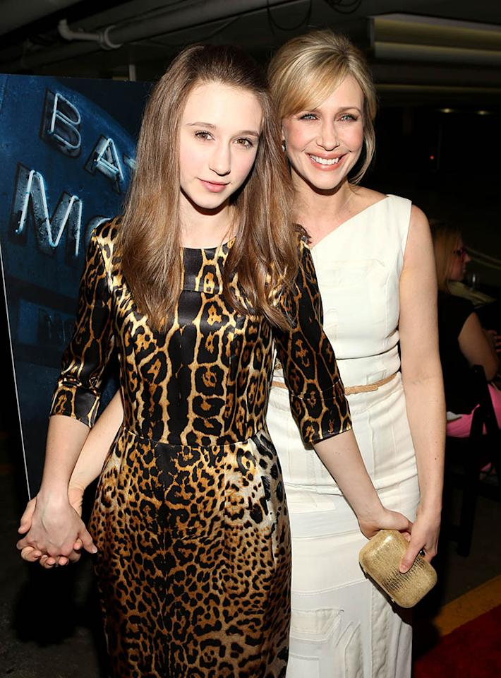 "Taissa Farmiga and Vera Farmiga arrive at the premiere of A&E Network's ""Bates Motel"" at Soho House on March 12, 2013 in West Hollywood, California."