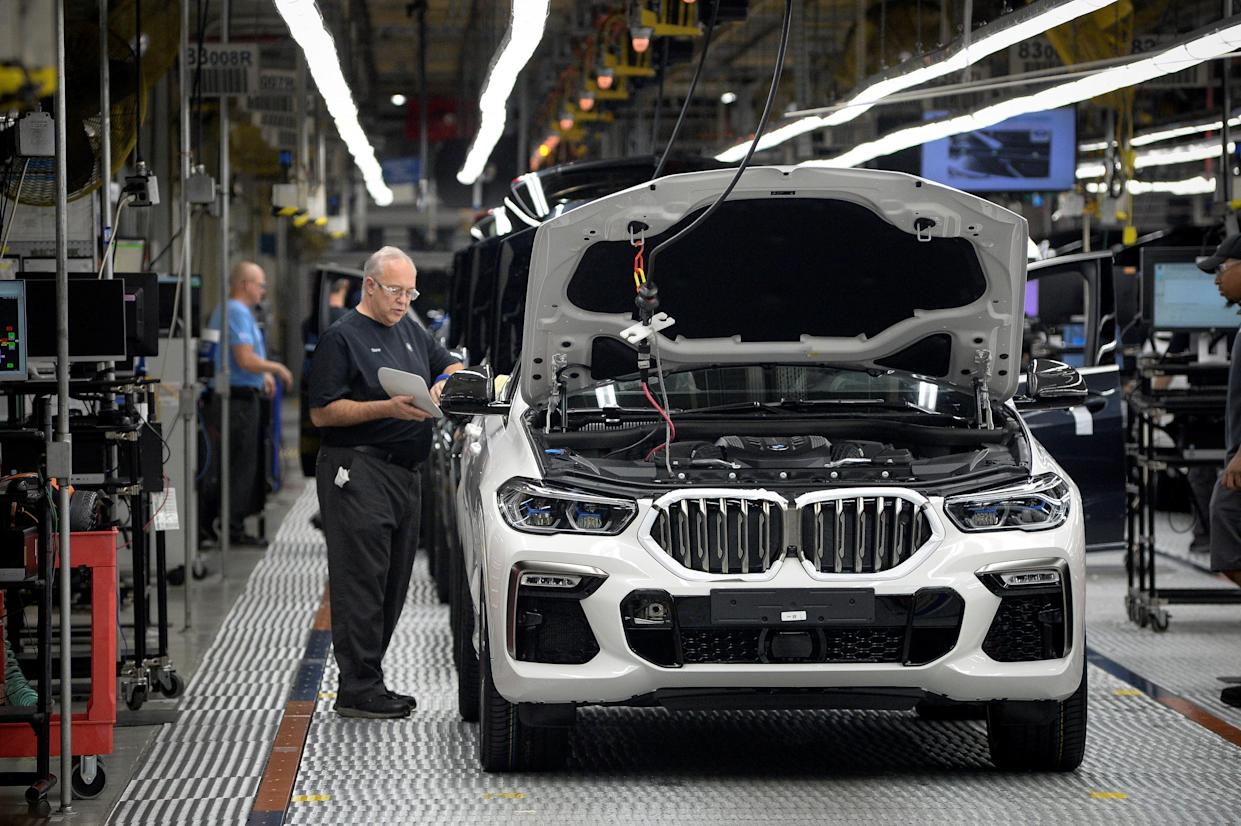 BMW X model SUVs undergo final diagnostic testing at the German carmaker's manufacturing facility in Greer, South Carolina, US. Photo: Charles Mostoller/Reuters